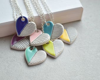Valentines Day Gift, geometric ceramic heart necklace, colourful jewellery for summer, teenage girl gift