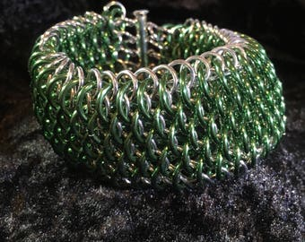 Dragonscale Chainmaille Bracelet - Dragonscale Cuff Bracelet - Green Dragonscale Bracelet