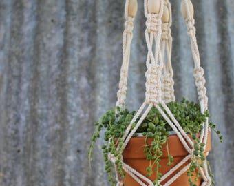 Modern Macrame Beaded Plant Hanger