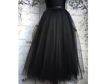 Midi black blue Tulle skirt for women tulle skirt knee length skirt black office party skirt hight quality tulle skirt outfit smart casual