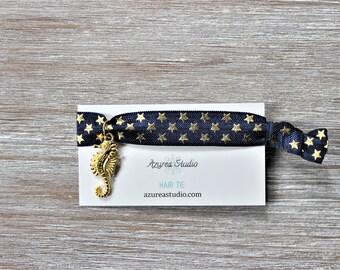 Navy Blue Gold Stars Hair Tie