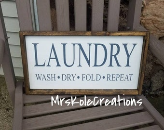 Laundry Sign, Wash Dry Fold Repeat, Rustic Laundry Sign, Framed Laundry Room Decor, Farmhouse Decor