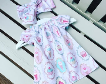 HALF PRICE SALE! Baby dress in 100% cotton cupcakes pink and white ice cream fun cotton fabric age 0-3 months