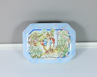 Vintage The World of Beatrix Potter tin box - Retro Beatrix Potter decorative tin - Made in England - Peter Rabbit & Benjamin Bunny - 1995