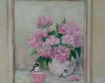 Original 16x20 Shabby Chic Pink Hydrangea painting with Chickadees