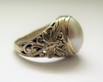 Vintage Silver Dragonfly Ring Arts And Crafts Style, Sterling Silver 925, Size Q, Size 8