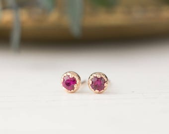 14k rose gold ruby studs earrings, 3mm ruby earrings, simple minimalist studs, july birthday gift, valentines gift, dal-e101-3mm-rub, RTS