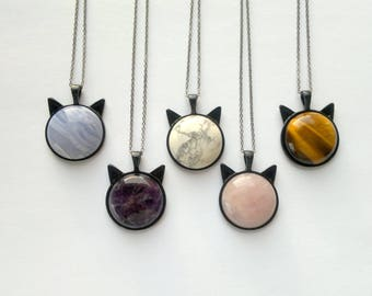 Inspirational Cat Necklace Stone Necklace Black Chain Necklace Black Cat Jewelry Blue Lace Agate Necklace Rose Quartz Necklace Stone Cat