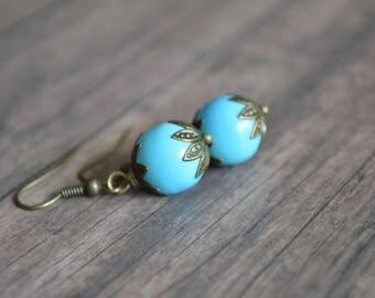 Blue Earrings. Vintage Earrings. Bohemian Earrings. Holiday Gift. Gift Under 20 Dollar. Boho Earrings. Handmade Earrings. Elegant Earrings.