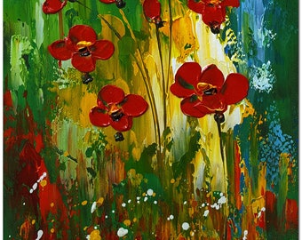 Red Poppies - Hand Painted Modern Impressionist Flower Oil Painting Gallery Wrapped Ready to Hang