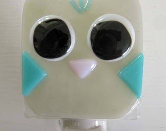 Ethan- Owl: Fused Glass Night Light - Free Shipping!
