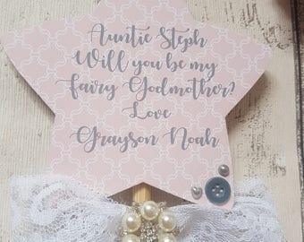 Fairy godmother wand / godmother gift/ godparents  / will you be my godmother / gifts for godparents