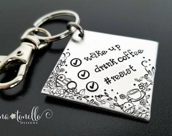 Resist Keychain, #RESIST, Activist Keychain, Feminist Keychain, Nevertheless She Persisted,  Anti Trump Keychain, Womens March, Womens Right