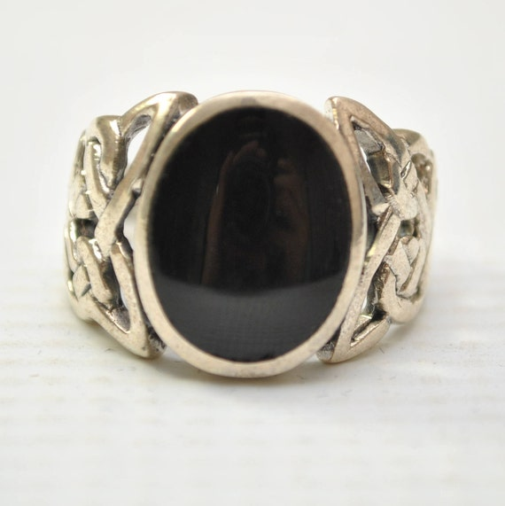 Onyx Large Oval Filigree in Sterling Silver Ring Sz 10 #8775