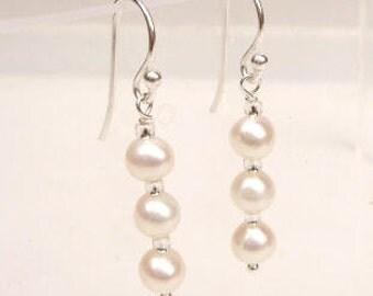 Sterling Silver Freshwater Pearl drop earrings triple pearl bridal earrings on hooks or studs simple pearl wedding earrings bridesmaid gifts