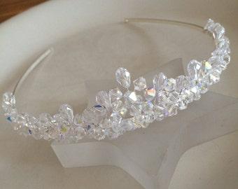 AB Swarovski crystal wedding tiara, designer bridal tiara, small crystal cluster tiara, Swarovski hair accessory, Swarovski headband