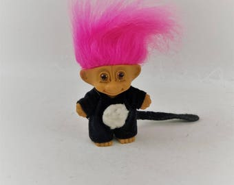 Vintage Russ Troll Doll, Puppy Outfit, and Pink Hair