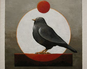 Original art, black bird painting, small modern bird wall art, red & white circles, 6x6 inches acrylic painting within an 11x14 inches mount