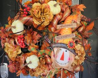 Fall Wreath, Scarecrow Wreath, Autumn Door Hanger, Front door wreath, Burlap Wreath, Fall Decor, Ready to ship