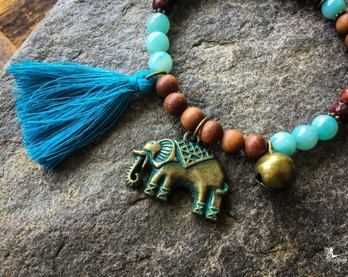 Elephant intention bracelet tassel mala boho Yoga jewelry Intention handmade by Creations Mariposa