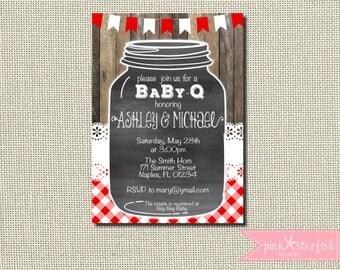 Baby Q Shower Invitation, Baby Q Invitation, BBQ Shower Invitation, Joint Baby Shower Invitation, Chalkboard, Rustic Baby Shower, Mason Jar