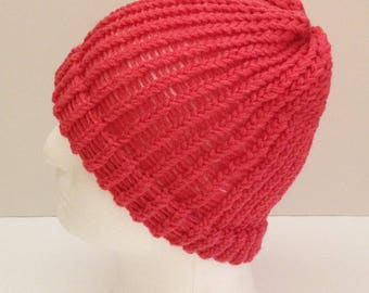 hand knitted beanie hat for teenagers and ladies, adult red wool beanie, knitted beanie hat, winter beanie hat, girl's beanie hat