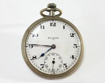 Vintage, Pocket Watch, Movement, Case, Hallmark, General Watch Co., Steampunk, Altered Art, Jewelry, Beading, Supplies, Supply
