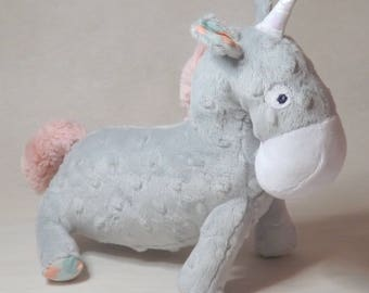 Plush Unicorn tamed light gray and pale pink (pastel), handmade