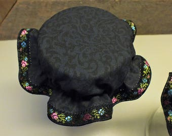 Black on Black with Floral Trim Elastic Mason Canning Jar Bonnets/Jar Toppers/Jam Jar Lid Covers ... Package of 2