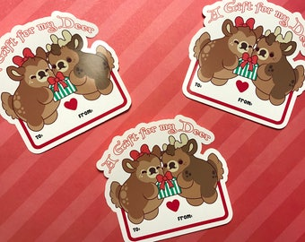 A Gift for my Deer - Kawaii Reindeer Christmas Present Gift Tag Sticker