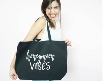 Honeymoon Vibes Canvas Tote, Honeymoon Tote, Just Married, Bachelorette Party Gift, Gift Bag, Tote Bag, Canvas, Honeymoon Gift