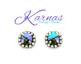 BLACK DIAMOND GLACIER 8mm Crystal Ab Halo Stud Earrings Swarovski Elements *Antique Silver *Karnas Design Studio *Free Shipping*
