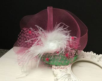 Green & Fuchsia Fascinator Hat