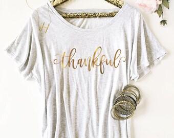 Thankful Shirt Thanksgiving Shirts for Women Fall Shirts Women Thankful Tshirt Thankful Grateful Blessed  (EB3202HLD) Dolman Style Shirt