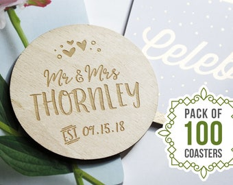 """100 PIECES - Engraved Wedding Coasters, Personalized Coaster, Wedding Favours, Save the Date, Laser Engraved, 3.5"""" Circle"""