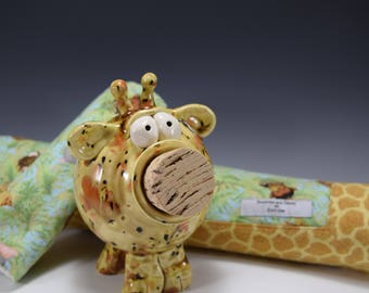 Pig 'N Blankie | Pottery Piggy Bank w/Matching Receiving Blanket | Burp Cloth | Newborn Blanket | Baby Gift | Pottered and Pieced | Giraffe