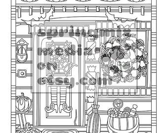 Halloween Coloring Page - Halloween House - Sweet Halloween Coloring