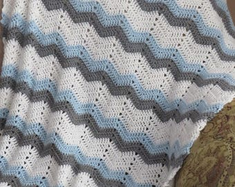 Crocheted blue,grey and white baby afghan/blanket