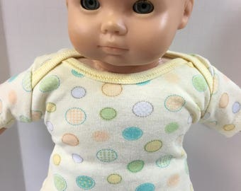 "15 inch Bitty Baby BOY Clothes, TOP Only, ""Yellow with Colorful Balls"" Top, 15"" AG Doll Bitty Baby Boy or Twin Boy, Top Only - 4.00 Dollars"