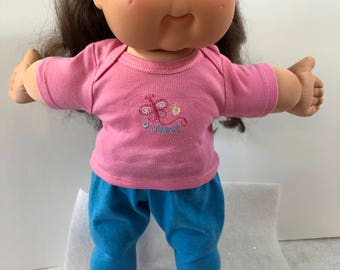 "Cabbage Patch Doll 16 inch Doll Clothes, Adorable Pink ""BUTTERFLY - SWEET"" Top, Blue Pants, 16 inch Cabbage Patch Clothes"