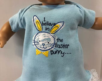 "15 inch Bitty Baby Clothes, Super Cute Easter Bunny - ""I Believe in the EASTER BUNNY"" Dress, 15 inch Ag Doll Bitty Baby Clothes or Twin Doll"