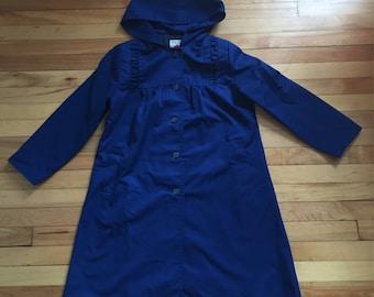 Vintage 1980s Girls Navy Blue Ruffle Long Dress Coat Jacket! Size 10
