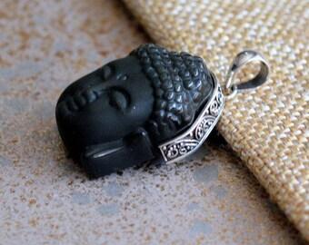 Carved Black Onyx Zen Buddha Face Pendant,Zen Buddha Head,Sterling Silver,Carved Zen Buddha,Buddha Pendant, Black Onyx Buddha,One, KP14-xxx