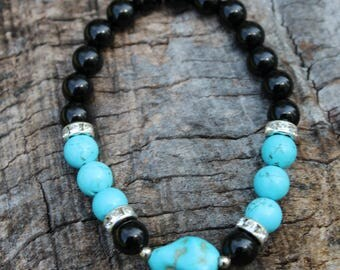 Turquoise Chunk & Onyx Bracelet