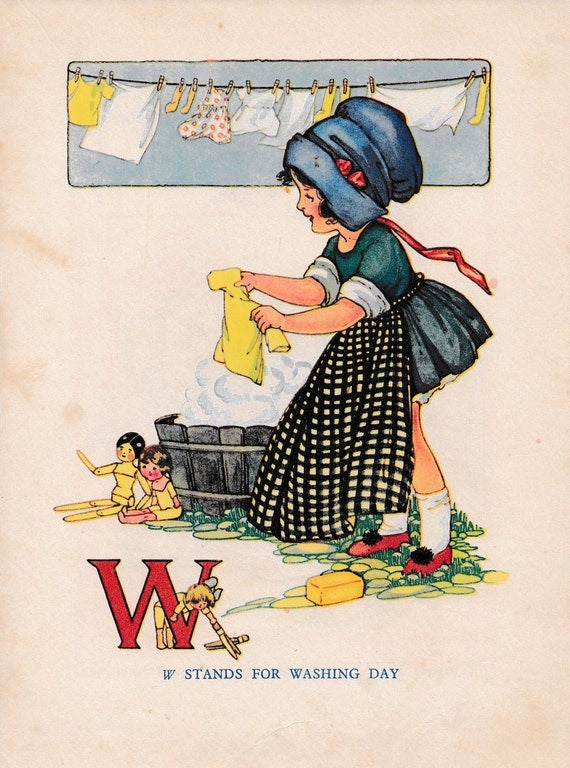"""Children's book illustration by H.G.C. Marsh Lambert, """"W stands for Washing Day"""", published 1950s, book print"""