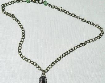 Vintage Lightbulb necklace. Whimsical statement necklace.