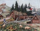 RESERVED for Helen Woodland Fairytale Mori Girl Clothing, Jacket  Vintage Landscape Gobelin Fabric