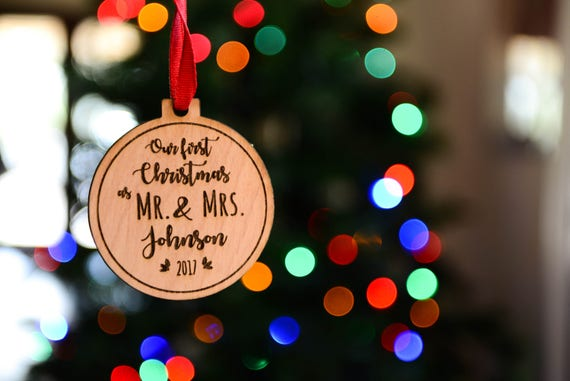 Our First Christmas Wood Ornament - Mr. and Mrs. Holiday Gift for Newlyweds - Couple Gift - Year and Name - Custom Engraved Ornament