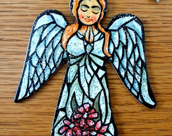 Christmas Angel Ornament - Hand Drawn and Painted - One of a Kind