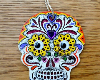 Skull Dia de los Muertos Day of the Dead Halloween Ornament - Hand Drawn and Painted - One of a Kind